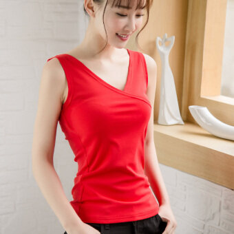 Harga Pretty eland spring and summer New style cotton wild outer wearvest female sling V-neck inside the ride bottoming shirt Plus-sizedSlimming effect Top (Red)