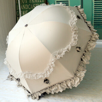Princess umbrella Korean-style folding lace dual use parasol (Candy white) (Candy white)