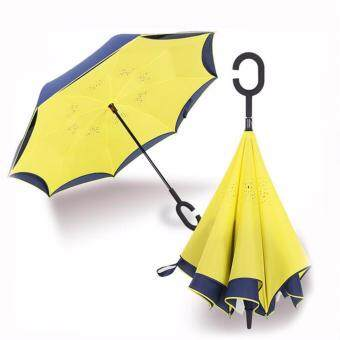 Harga Reverse Inverted Umbrella Rain Women Men Double Layer ReverseUmbrella C-Hook Hands Self Stand Inside Out Rain ProtectionCar(Yellow)
