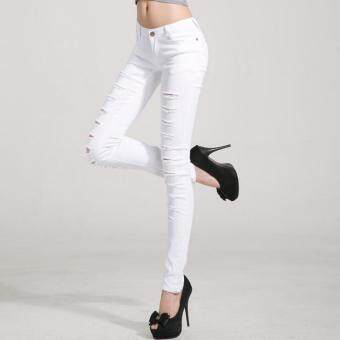 Ripped Jeans Cotton Denim Pants Stretch Womens Jeans Skinny JeansSize 25-33 -White - 2