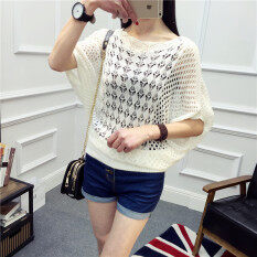 Short Sleeve Loose Women Hollow Out pullover Tops Knit Tinics Spring Summer Thin Shirts Batwing sleeves