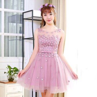 Sisters female group New style graduation photo Korean-style graybridesmaid dress (Shallow red bean paste) Price Malaysia
