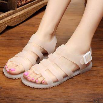 Harga Size 35-39 Comfortable Ladies Jelly Flat Shoe LD2706 Nude