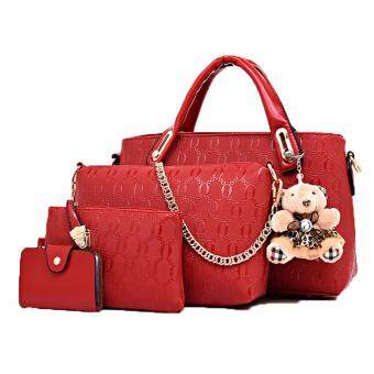 SoKaNo Trendz 5in1 Set Crocodile Faux Tote Bags with Bear 5059_Red