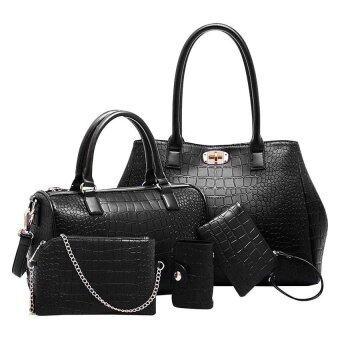 SoKaNo Trendz Elegant Crocodile Faux Leather Bags(5 pcs Set)- Black