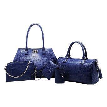 SoKaNo Trendz Elegant Crocodile Faux Leather Bags(5 pcs Set)- Blue