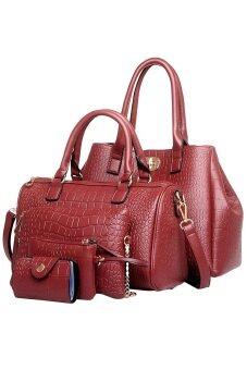 SoKaNo Trendz Elegant Crocodile Faux Leather Bags(5 pcs Set)- WineRed