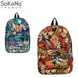 SoKaNo Trendz Floral Design SKN738 Japanese Style Canvas Backpack Orange