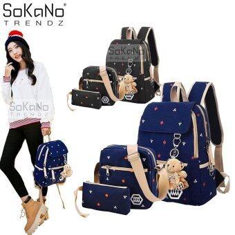 SoKaNo Trendz Korean Style SKN732 Canvas Backpack Set of 3- Blue
