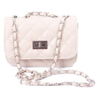 SoKaNo Trendz Lady Quilted Leather Chain Crossbody Bag- Beige