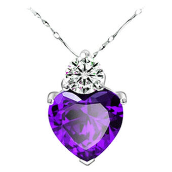 SoKaNo Trendz N29 Australian Crystal Series Loyal Love Necklace - Purple + Gift Box