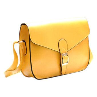 SoKaNo Trendz Retro Style Waxed PU Leather Sling Handbag - Yellow
