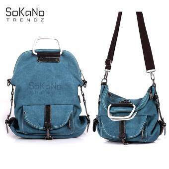 SoKaNo Trendz SKN618 3 Way Use Canvas Shoulder, Crossbody Bag and Backpack- Blue