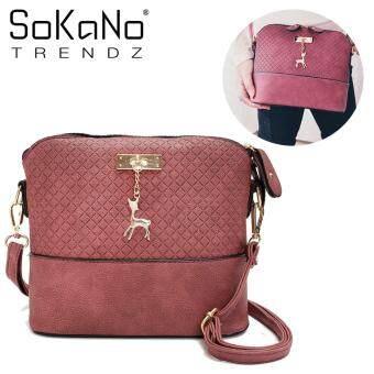 SoKaNo Trendz SKN619 PU Leather Crossbody Bag With Deer Charm - Maroon