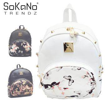 SoKaNo Trendz SKN755 Floral Rivet Design Double Straps PU Leather Backpack - White Floral