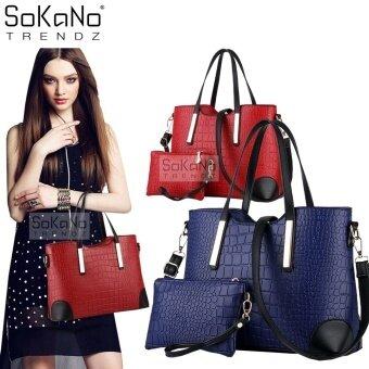 SoKaNo Trendz SKN806 Faux Crocodile PU Leather Tote Bag Set Of 2-Blue