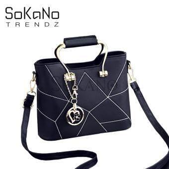 SoKaNo Trendz SKN828 Premium Elegant European Style Woman Handbag with Keychain- Black