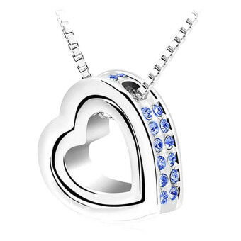 SoKaNo Trendz Swarovski Crystal Series Love With Love Necklace N03 Free Gift Box- Blue
