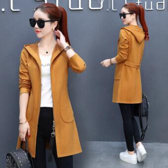 Solid color mid-length waist hugging jacket cardigan - 2