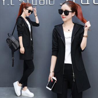Solid color mid-length waist hugging jacket cardigan - 3