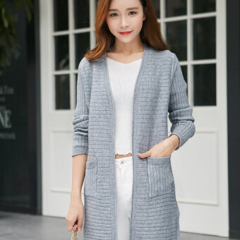 Song fei lai 2017 pocket spring new korean version of women's loosebig yards long cardigan sweater outside the ride tide (Gray)