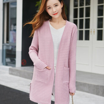 Song fei lai 2017 pocket spring new korean version of women's loosebig yards long cardigan sweater outside the ride tide (Leatherpink)