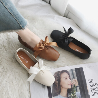 Square head flat shallow mouth shoes Female Summer 2017 New style Korean-style retro Butterfly knot peas shoes comfortable shoes (Black) - 2