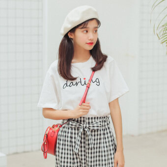 Summer fresh literary letters embroidery love pattern short-sleeved t-shirt female Korean-style loose Short sleeve bottoming Top