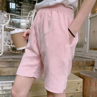 Summer korea ulzzang harajuku style bf solid color corduroy shorts pants loose thin wild influx of female students (Pink)