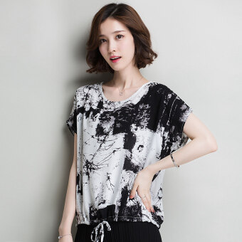 Summer new hot selling printed short sleeved Top T-shirt shirt (Black black and white flower)