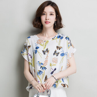 Summer new hot selling printed short sleeved Top T-shirt shirt (White Blue and White Flower)