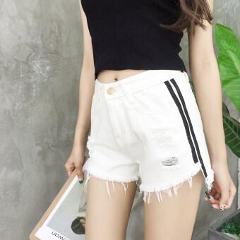 Summer new korean side striped burr hole was thin denim shorts female wild simple student wide leg shorts (White)