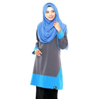 T Shirt Muslimah Humaira Design (Grey/ sky blue)
