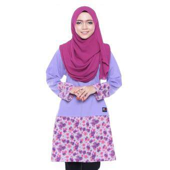 T Shirt Muslimah Humaira Design (Purple / flower printing)