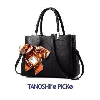 Tanoshiis Picks Fabulous Premium Ribbon Crossbody Tote Bag_Black