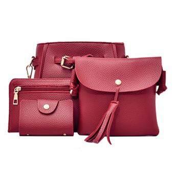 Tanoshiis Picks Women's PU Leather Handbag 4in1 Value Set_Maroon