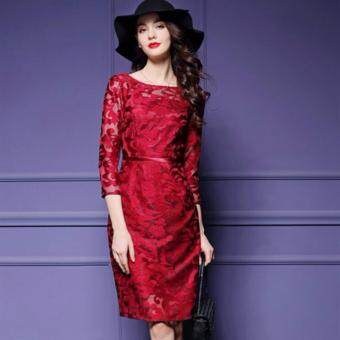 TF 2017 New women's clothing of high-grade embroidery lacedress(Red) - 3