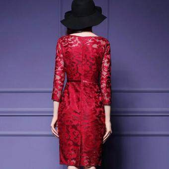 TF 2017 New women's clothing of high-grade embroidery lacedress(Red) - 5