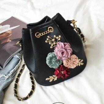 Three-dimensional flowers bucket bag mini small bag summer New Sweet Lady small bag chain messenger bag shoulder bag (Black)