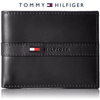 Tommy Hilfiger Men's Ranger Leather Passcase Wallet with Removable Card Case gift box (black)