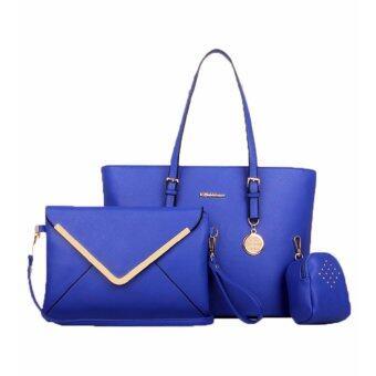V.Fabbiano 3in1 Trendy Premium PU Leather Elegant Tote Bag Set_Blue