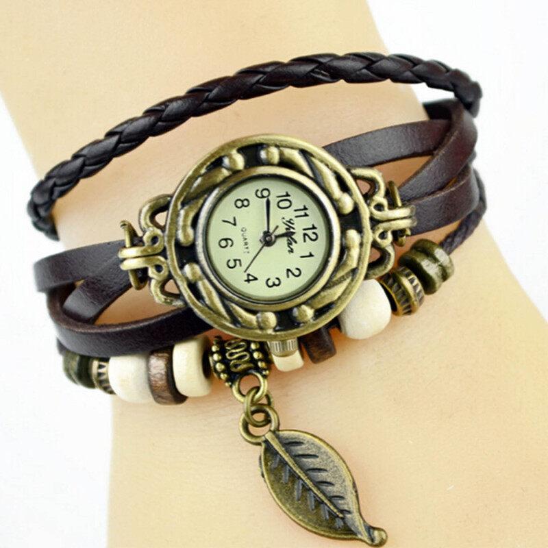 Vococal Vintage Style Special Women Lady Gift PU Leather Quartz Analog Wrist Bracelet Bangle Watch Wristwatch With Leaves Shape Pendant Black Malaysia