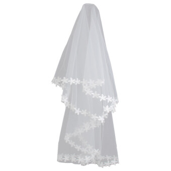 White Elbow Bridal Wedding Veil Without Comb Lace Applique Edge