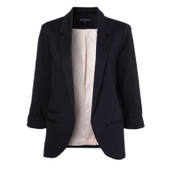 Women Casual Slim Solid Suit Blazer Jacket(Black) | Lazada Malaysia