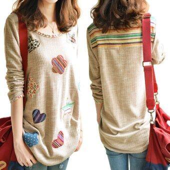 Women Fresh Hearts Flowers Print Blouse Round Neck Top Shirts - 2