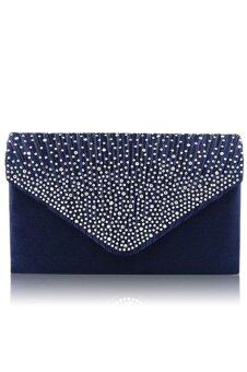 Women Lady Large Satin Diamante Handbag Envelope Clutch Bag SingleShoulder Bag with Chain for Evening Party Prom Blue