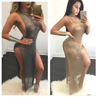 Women pencil dress sexy club bodycon party dresses plus size (Gold gold) (Gold gold)