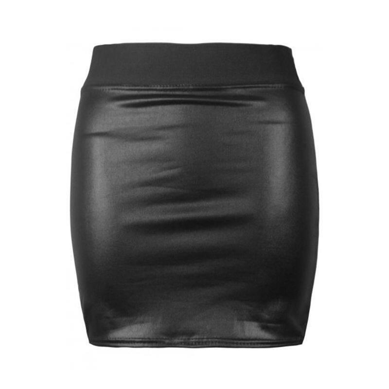 Women Sexy PU Leather Pencil Bodycon High Waist Mini Skirt Black ...
