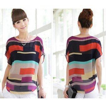 Women's chiffon short sleeved t-shirt ladies blouse muticolor - 2