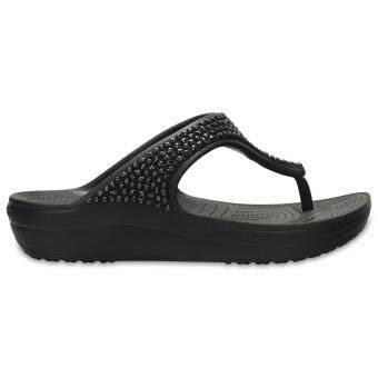 Women's Crocs Sloane Embellished Flip Blk/Blk - 3